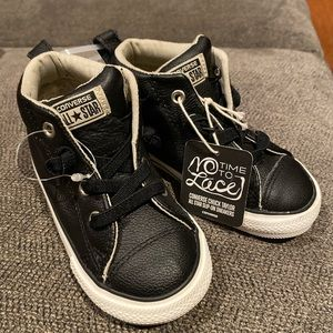 NWT Converse Size 8 Black Leather High Top Slip on